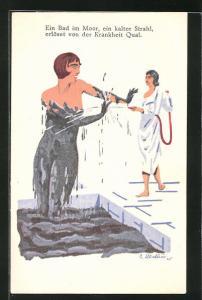 AK Ein Bad im Moor, ein kalter Strahl, erlöst von der Krankheit Qual, Dame wird nach dem Moorbad abgespritzt