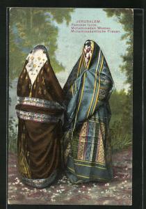 AK Jerusalem, Verschleierte mohammedanische Frauen