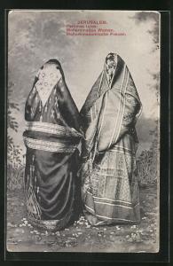 AK Jerusalem, Verschleierte mohammedanische Frauen in Tracht