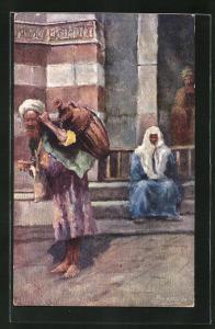 Künstler-AK Türkischer Mann mit Amphore auf dem Rücken