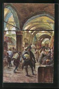 Künstler-AK Stamboul, Grand Bazar, Rue des Libraires, türkische Händler auf dem Bazar