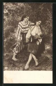 AK Junge rumänische Mutter stillt ihr Kind
