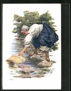 Künstler-AK Valasi z Moravy, tschechisches Mädchen beim Wasserholen