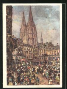 Künstler-AK Köln, Karneval in der Stadt, Ganzsache 6 Rpf.