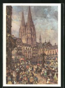Künstler-AK Köln, Karneval in der Stadt 1939, Ganzsache 6 Pf.