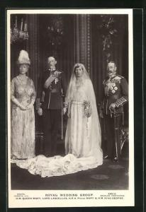 AK Royal Wedding Group, Queen Mary, Lord Lascelles, Princess Mary & King George