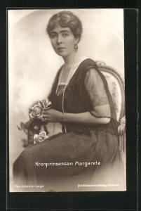 AK Kronprinsessan Margareta, Portrait mit Perlenkette