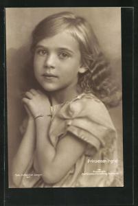 AK Prinsessan Ingrid, Portrait mit offenem Haar