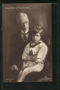 AK Konung Gustaf och Prins Karl Johan