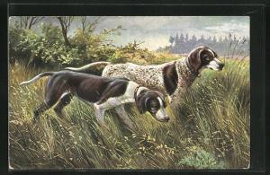 Künstler-AK Alfred Schönian: Jagdhunde auf der Pirsch