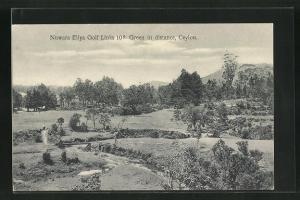 AK Ceylon / Sri Lanka, Nuwara Eliya Golf Links 10th Green in distance, Golfplatz aus der Vogelschau