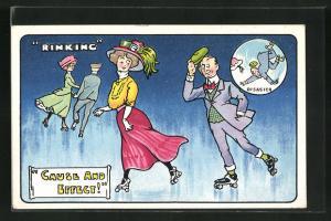 AK Mann grüsst auf Rollschuhen eine elegante Dame