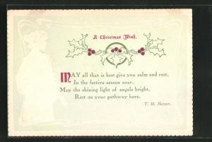 Präge-AK Dame im wallenden Gewand, Gedicht A Christmas Wish, Jugendstil-Rahmen