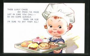 AK Junge Bäckerin zeigt stolz ein Tablett mit leckerem Kuchen