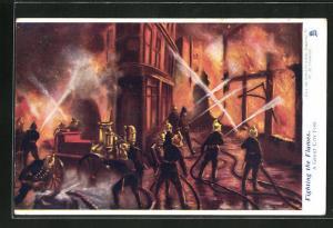 AK Fighting the Flames, A great city fire, Feuerwehrl löscht einen Brand