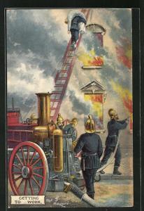 AK Getting to work, Feuerwehr beim Löschen eines Brandes