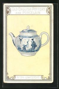 AK Lowestoft, No 24, Old English Pottery and Porcelain, Teekanne