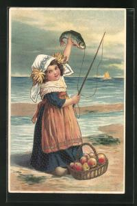 Künstler-Präge-AK Mädchen mit Fisch an der Angel