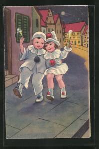 AK Pierrot und Pierette auf dem Heimweg