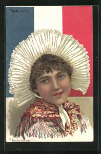 Lithographie Boulonnaise, Französin in Tracht