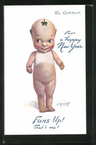 Künstler-AK A. Mascot: The Optimist, Fums Up! That`s me!, For a happy New Year, Puppe, Glück