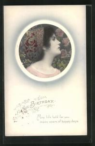 AK For Your Birthday, Frauenkopf mit Jugendstilkopfschmuck