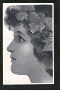 Lithographie Profil mit Efeu im Haar