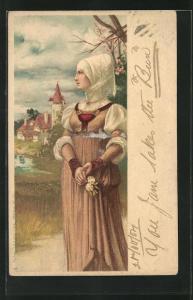 Lithographie Frau in historischer Kleidung, Mittelalter