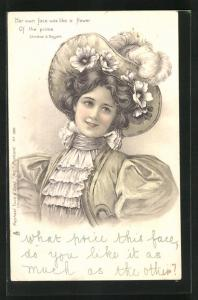 Lithographie Her own face was like a flower..., junge Dame mit Hut