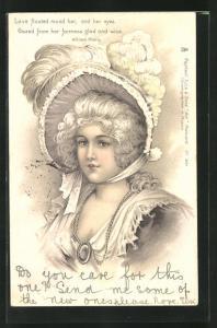 Lithographie Love floated around her..., junge Barockdame mit Hut