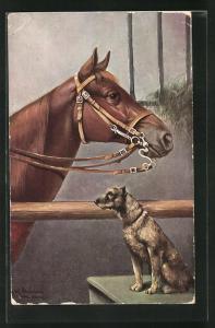 Künstler-AK Alfred Schönian: Pferd und Terrier