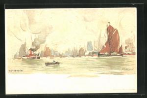 Künstler-AK Henri Cassiers: Rotterdam, Partie auf See