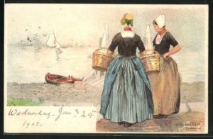 Künstler-AK Henri Cassiers: Walcheren, Frauen in holländischer Tracht