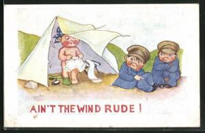 AK Ain'T The Wind Rude, Kindersoldaten vor dem Zelt