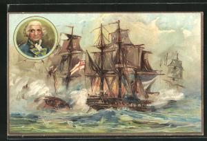 AK Militär, Kriegsschiffe in Schlacht, Battle of the Nile, 1798, Kanonenqualm
