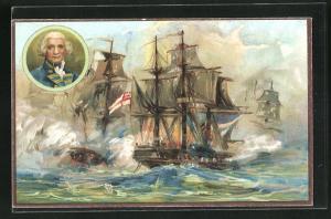 AK Militär, Kriegsschiffe in Schlacht, The Glorious First of June, 1794