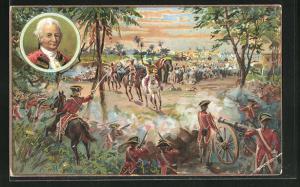 AK Militär, Soldaten verteidigen sich vor Angreifer mit Pferden und Elefanten, Battle of Plassey, 1757