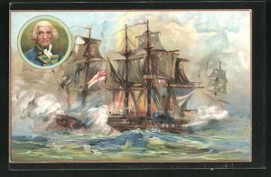 AK Militär, Kriegsschiffe in Schlacht, The Glorious First of June, 1794, Kanonenqualm