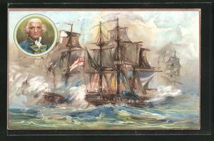 AK Militär, Kriegsschiffe in Schlacht mit Kanonenqualm, The Glorious First of June, 1794