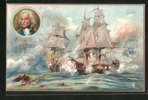 AK Militär, Kriegsschiffe in Schlacht, Battle of the Nile, August 1, 1798