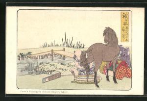 AK Samurai pflegt sein Pferd mit Wasser, Ufer mit Brücke