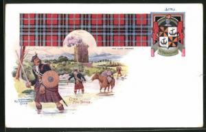 AK schottische Soldaten in Kilt waten durch Fluss, Clan Mac Tavish, Wappen, The Clan Tartan