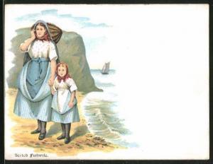 AK schottische Frau mit Mädchen an Hand in Trachten stehen am Ufer
