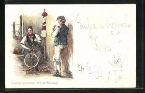 AK Frau am Spinnrad mit Mann, beide tragen hessische Tracht