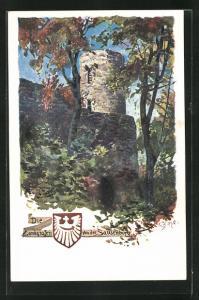 Künstler-AK Carl Biese: Die Landgrafen von der Sausenburg, Burgturm, Wappen