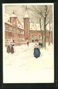 Künstler-AK Henri Cassiers: Middelbourg, holländische Frauen in Trachten im Winter vor Gebäude mit Turm