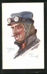 Künstler-AK Em. Dupuis: Mann mit Mütze und Schutzbrille, hochgeschlagenem Kragen, Arras, Fevrier 1915