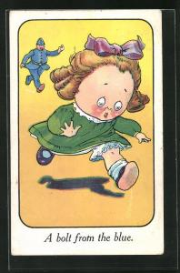 Künstler-AK a bolt from the blue, kleines Mädchen rennt vor einem Polizisten davon
