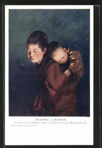 AK Geisha mit Baby auf dem Rücken, Bearing a Burden