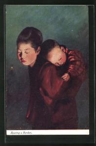 AK Geisha trägt ein Baby auf dem Rücken, Bearing a Burden